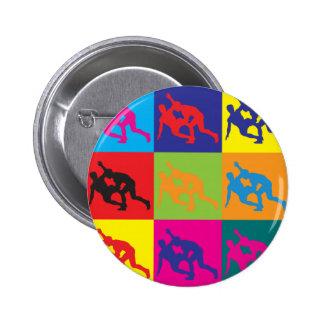 Wrestling Pop Art Pinback Button