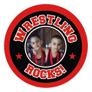 Wrestling Rocks Photo Thank You Card