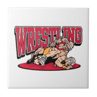 Wrestling Takedown Ceramic Tile