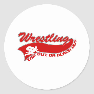 Wrestling; tap out or black out classic round sticker