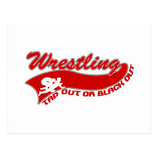 Wrestling; tap out or black out postcard