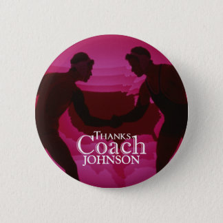 Wrestling Thanks Coach Silhouette Red Pinback Button