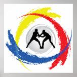 Wrestling Tricolor Emblem Poster