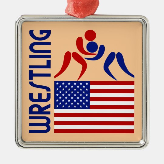 Wrestling United States Metal Ornament