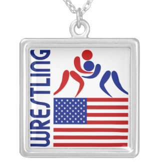 Wrestling United States Silver Plated Necklace