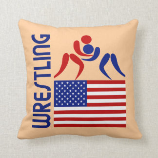 Wrestling United States Throw Pillow