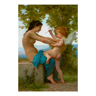 Wrestling with Cupid 1880 Print