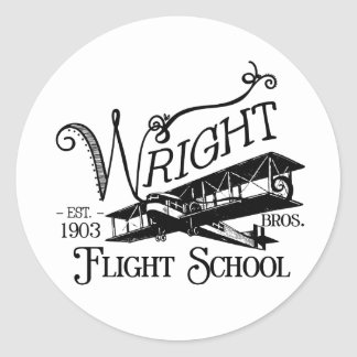 Wright Bros. Escuela del vuelo Pegatina Redonda