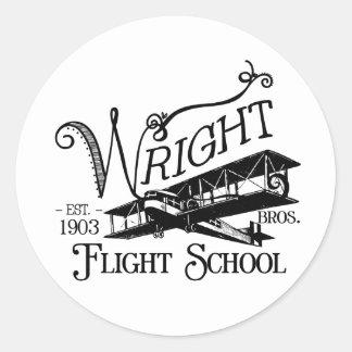Wright Bros. Flight School Round Sticker