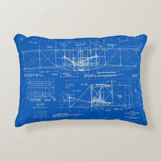 "Wright Bros. ""Flyer"" Blueprint 1903 Accent Pillow"