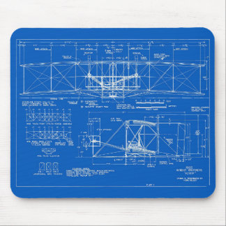 """Wright Bros. """"Flyer"""" Blueprint 1903 Mouse Pad"""