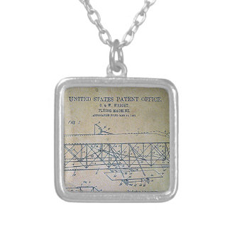 Wright Brothers Patent Design Silver Plated Necklace