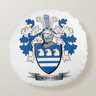 Wright Coat of Arms Round Pillow