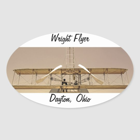 Wright Flyer Aircraft Oval Sticker