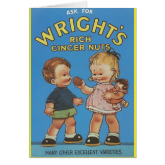 Wright's Rich Ginger Nuts Vintage Ad Card