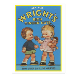 Wright's Rich Ginger Nuts Vintage Ad Postcard