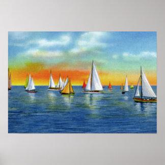 Wrightsville Beach North Carolina Sailing at Sunse Print