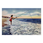 Wrightsville Beach North Carolina Surf Fishing Print