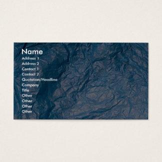 Wrinkled blue business card
