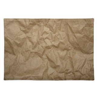 Wrinkled Crumpled Paper Texture - Brown Cloth Place Mat