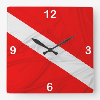 Wrinkled Diver Down Flag Square Wall Clock