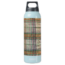 Wrinkled Madras Plaid Aluminum Insulated Water Bottle
