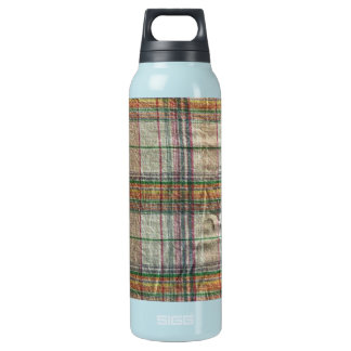 Wrinkled Madras Plaid Aluminum Thermos Water Bottle