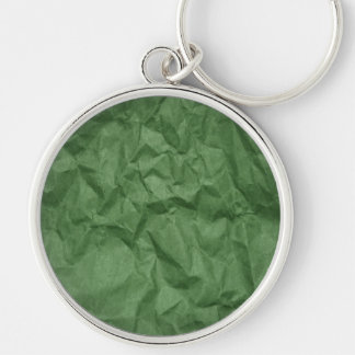 Wrinkled Paper, Crumpled Paper Texture - Green Keychain