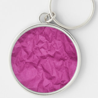 Wrinkled Paper, Crumpled Paper Texture - Pink Silver-Colored Round Keychain