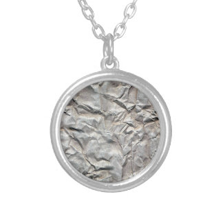 Wrinkled Paper Silver Plated Necklace