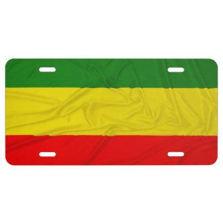 Wrinkled Rastafarian Flag License Plate