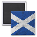 Wrinkled Scotland Flag 2 Inch Square Magnet