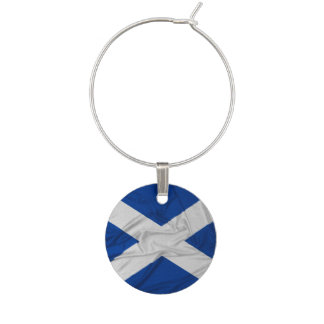 Wrinkled Scotland Flag Wine Charm