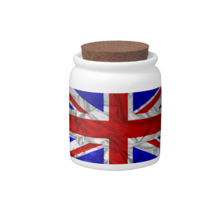 Wrinkled Union Jack Flag Candy Jar