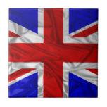 Wrinkled Union Jack Flag Small Square Tile