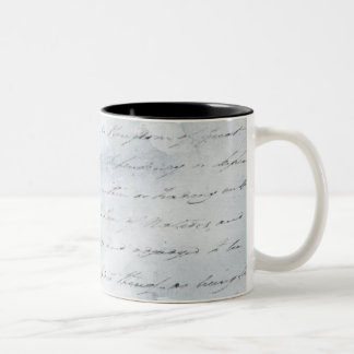 Wrinkled White Paper with Writing background Two-Tone Coffee Mug
