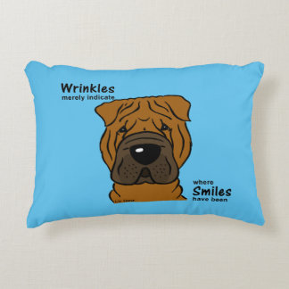 Wrinkles merely indicate smiles decorative pillow