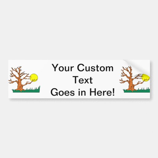 wrinkly brown tree moon grass graphic bumper sticker