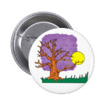 wrinkly brown tree moon grass graphic pinback button