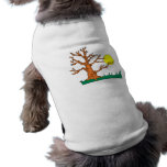 wrinkly brown tree moon grass graphic dog t-shirt