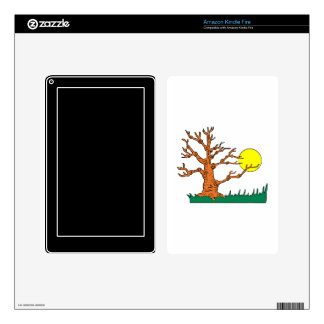 wrinkly brown tree moon grass graphic kindle fire decal