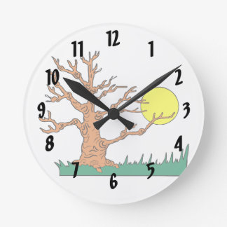 wrinkly brown tree moon grass graphic round wallclock