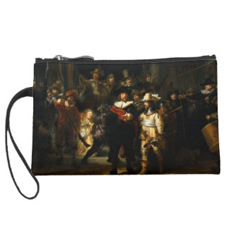 Wrislet of painting The Night Watch by Rembrandt Suede Wristlet Wallet