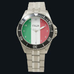 "Wrist watch for men with flag of Italy<br><div class=""desc"">Steel Wrist watch for men with flag of Italy. Stylish watches with flag of Italy. Patriotic tricolore design. Cute gift idea for proud Italian dad uncle grandpa brother etc. Personalizable text.</div>"