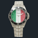 """Wrist watch for men with flag of Italy<br><div class=""""desc"""">Steel Wrist watch for men with flag of Italy. Stylish watches with flag of Italy. Patriotic tricolore design. Cute gift idea for proud Italian dad uncle grandpa brother etc. Personalizable text.</div>"""
