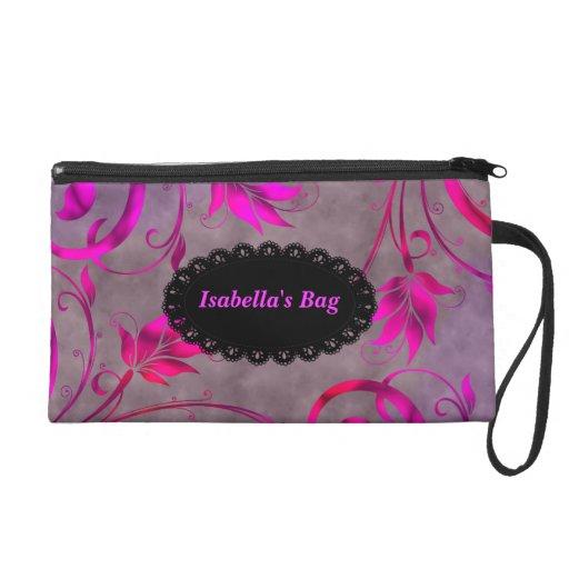 Wristlet Bag Hot Pink Black Gray Floral Wristlet