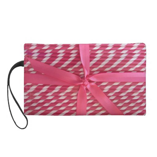 Wristlet-clutch-pink straws with bow