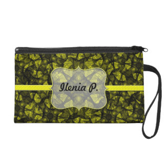 Wristlet fractal art black and yellow