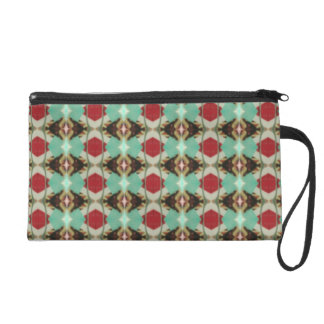 Wristlet in Soft Red and Green Diamond Pattern