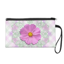Wristlet - Mini-Purse - Med Pink Cosmos on Lace &